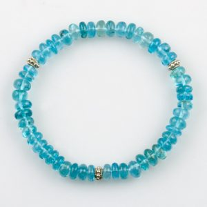 Apatite Beaded Stretch Bracelet With Sterling Silver Accent Bead
